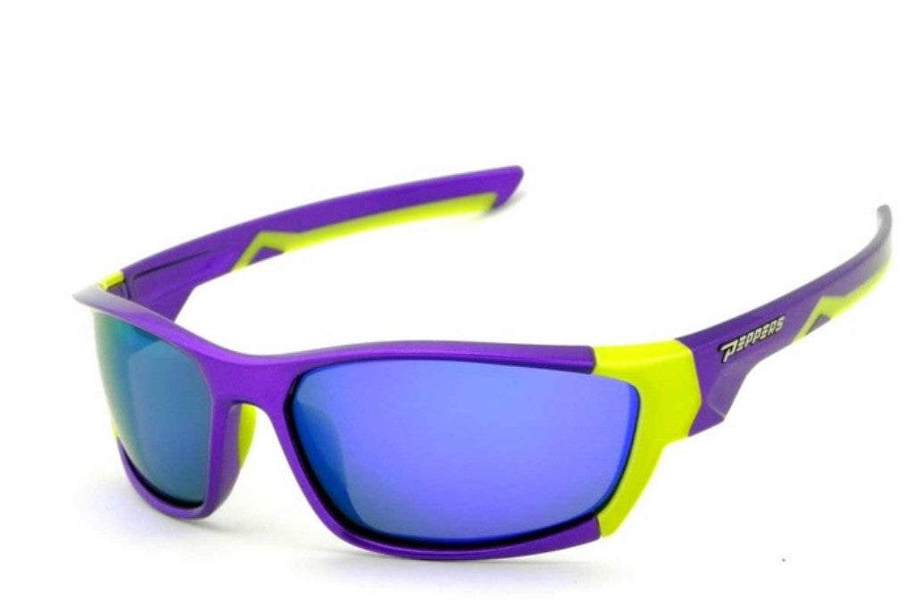 Peppers Drop Down Sunglass Purple/Neon Yellow Frame Blue Lenses Size 70-20-125