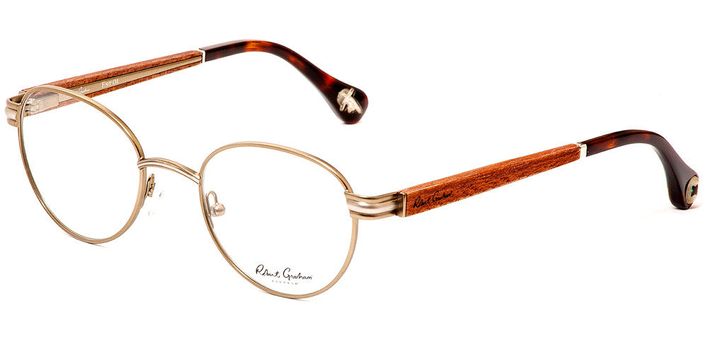 Robert Graham Polk Eyeglass Antique Gold Frame Size 47-20-145