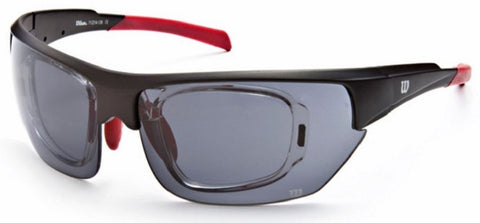 Wilson 1017 Sunglasses Black/Red Frame Grey Lenses Size 71-14-126