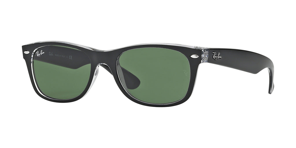 Ray-Ban New Wayfarer Classic RB2132 Sunglass 6052 Black Frame Green Lenses Size 52-18-145