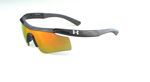 Under Armour Dynamo 8600067 Sunglasses Shiny Black Frame Gray/Orange Lenses Size 117-14-110
