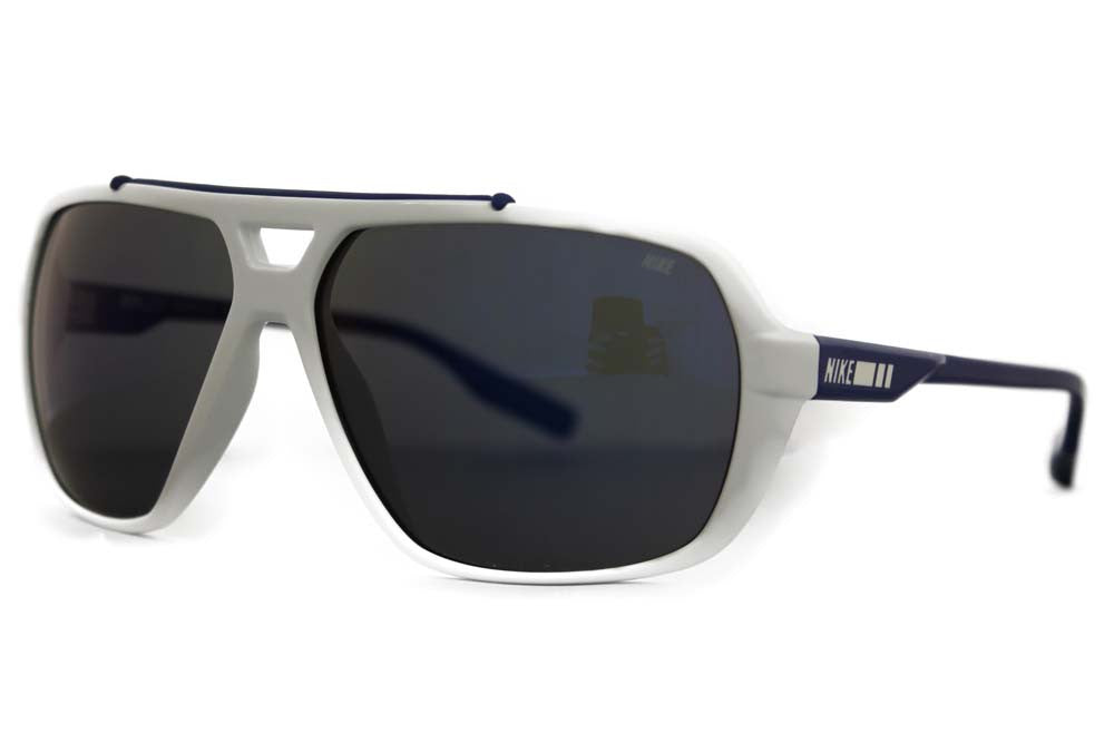 Nike Mdl. 200 Aviator EV0716 Sunglass 144 White Deep Royal Blue Frame Grey W/ Blue Night Lenses