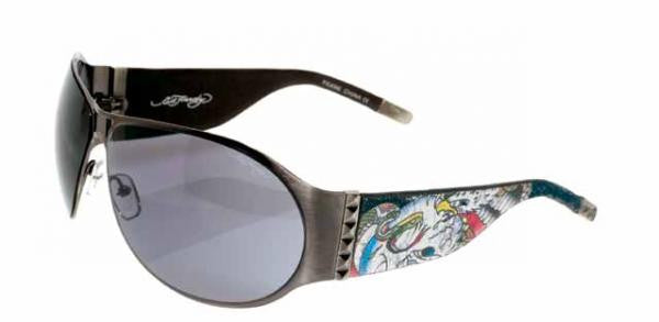 Ed Hardy Battle EHS-011 Sunglass Gunmetal Frame Grey Lenses Size 72-11