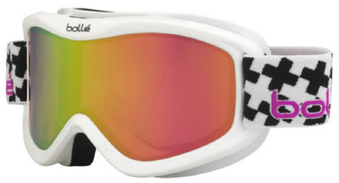 Bolle Volt Plus Goggles White Cross Frame Rose Gold Lens Youth