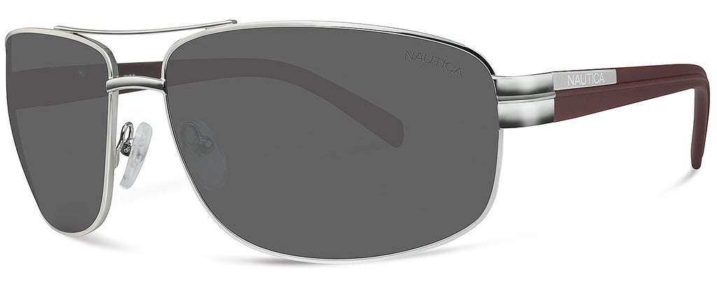 Nautica N4559S Sunglasses Silver Frame Grey Lenses Size 63-14-125