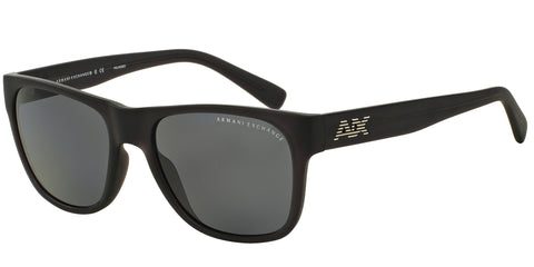Armani Exchange AX4008 Sunglasses Matte 802081 Frame Polarized Solid Grey Lenses Size 56-18-135