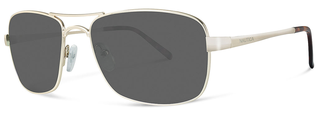Nautica N4549S Sunglasses Light Golden Frame Grey Lenses Size 56-17-130