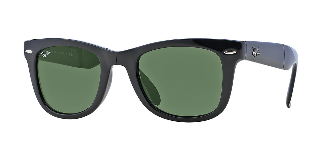 Ray-Ban Wayfarer Folding Classic RB4105 Sunglasses 601 Black Frame Green Lenses Size 50-19-140