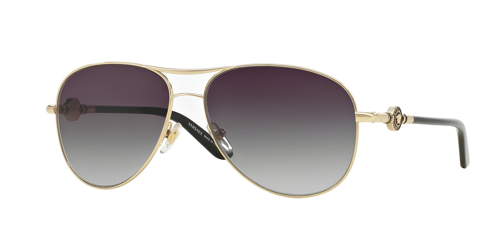 Versace VE2157 Sunglass 12528G Pale Gold Frame Grey Lenses Size 58-14-135