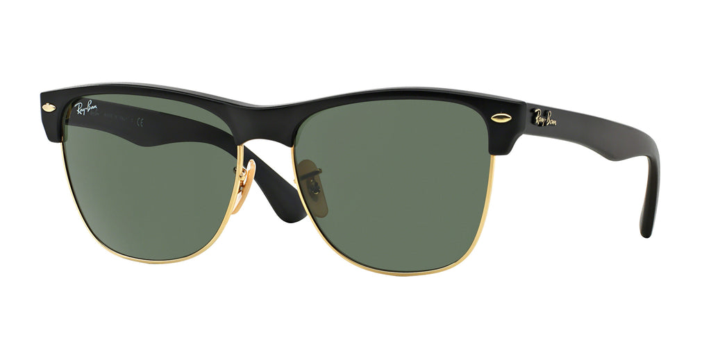 Ray-Ban Clubmaster Oversized RB4175 Sunglasses 877 Shiny Black Frame Green Lenses Size 57-19-145