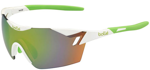 Bolle 6th Sense Sunglasses Shiny White/Lime Frame Polarized Brown Lenses Size 144