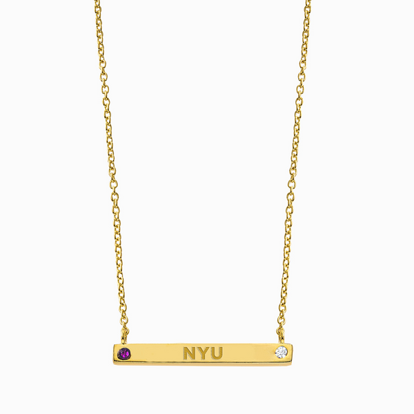 Pride 2-Sided Bar Necklace - NYU + Coordinates - Collegiate Soul