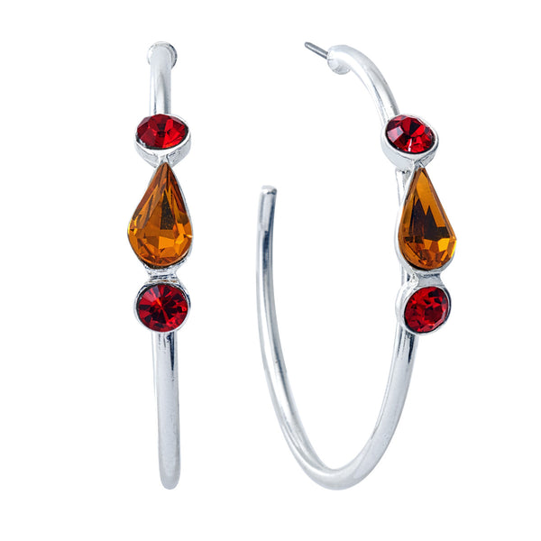 Spirit Hoop Earrings - Red & Gold - Collegiate Soul