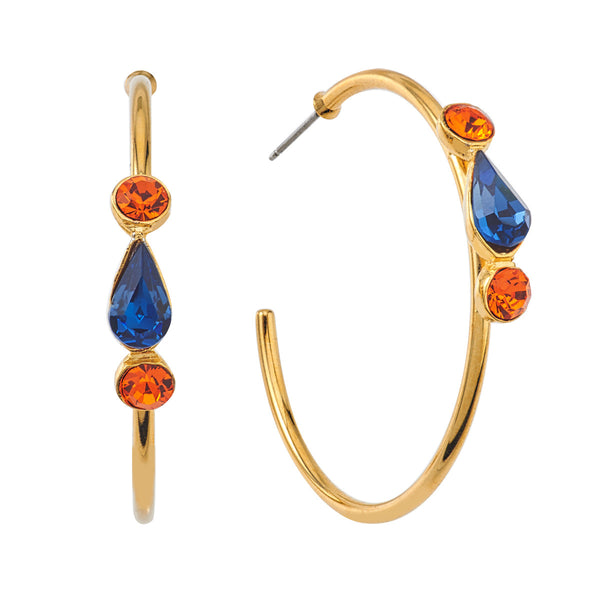 Spirit Hoop Earrings - Orange & Blue - Collegiate Soul