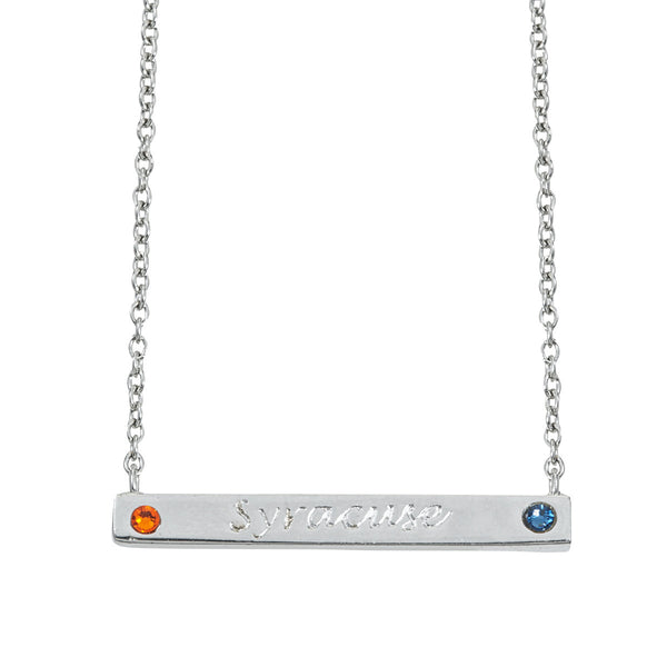 Pride 2-Sided Bar Necklace - Syracuse + Coordinates - Collegiate Soul