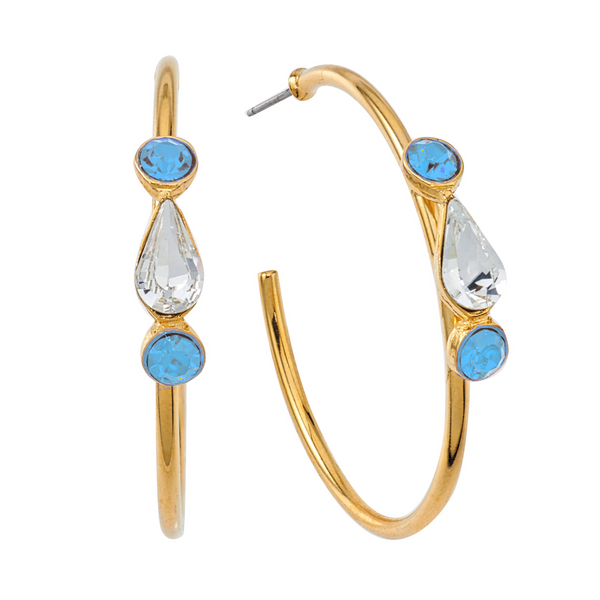 Spirit Hoop Earrings - Baby Blue & White - Collegiate Soul