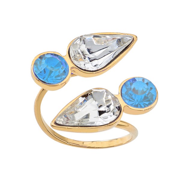 Spirit Wrap Ring - Baby Blue & White - Collegiate Soul