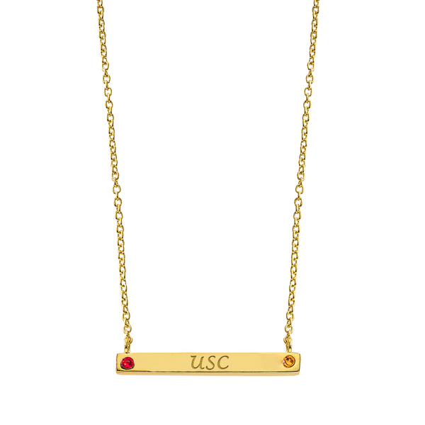 Pride 2-Sided Bar Necklace - USC + Class Year - Collegiate Soul