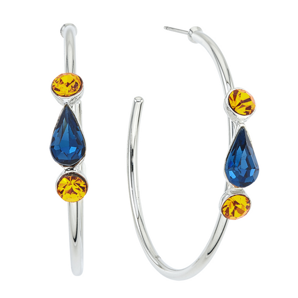 Spirit Hoop Earrings - Navy & Gold - Collegiate Soul