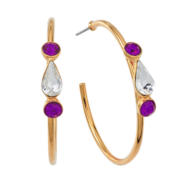 Spirit Hoop Earrings - White & Purple - Collegiate Soul