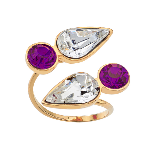 Spirit Wrap Ring - White & Purple - Collegiate Soul