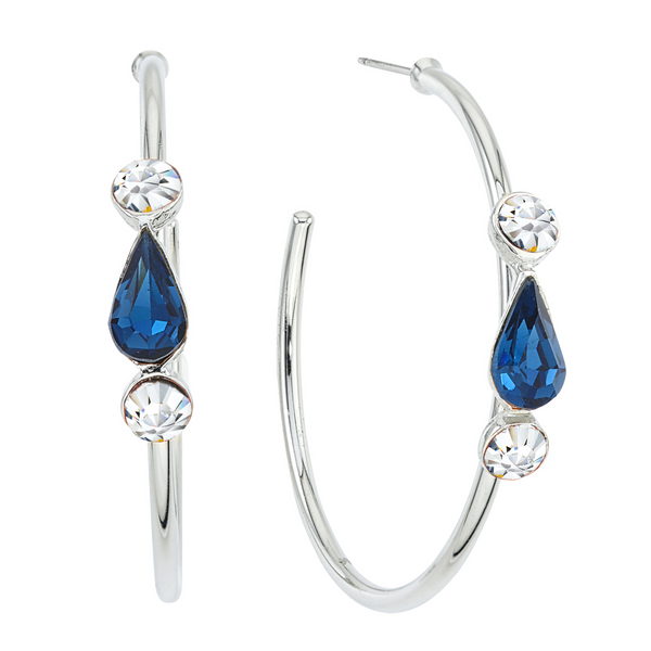 Spirit Hoop Earrings - Navy & White - Collegiate Soul