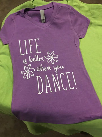 Kid Size V-neck T-shirt- Life Is Better When You Dance