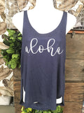 Ladies Side Slit Tank- Aloha
