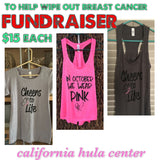 "Ladies Raceback Tank- ""Cheers To Life"" Breast Cancer Awareness"
