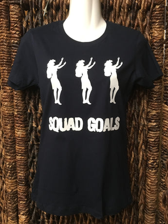 "Ladies Fitted Tee- ""Squad Goals""- Navy Blue"