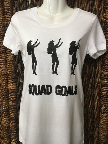 "CLEARANCE- Ladies Fitted Tee- ""Squad Goals""- White"