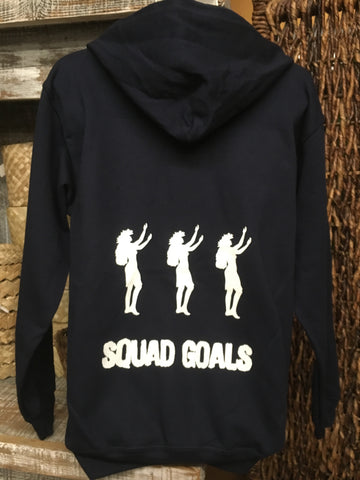 "CLEARANCE- Zipper Hoodie- ""Squad Goals""- Navy Blue"