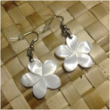 Mother of Pearl Plumeria Earrings