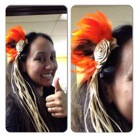 Te Manu Feather Hair Clip- 2-toned