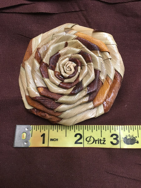 "Two Toned Lauhala Roses 3"" wide"