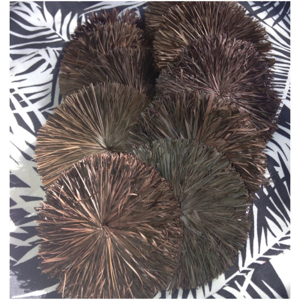 Raffia Circles- Brown