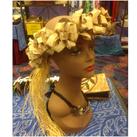 Tapa Cloth & Raffia Crown Tahitian Headpiece