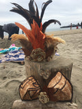 Coconut Fiber and Feather Headpiece Crown
