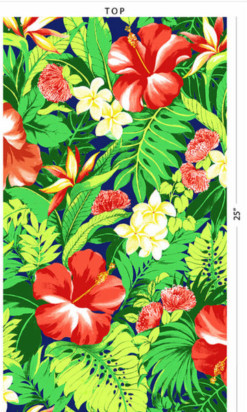 Navy with Tropical Flowers Poly Cotton Fabric