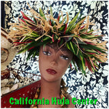Artificial Ti Leaf & Raffia Crown Tahitian Headpiece
