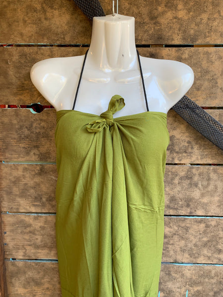 Pareu- No Fringe Rayon - Olive Green