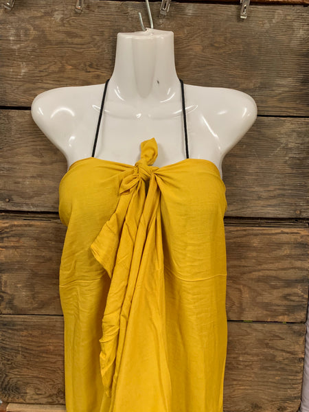 Pareu- No Fringe Rayon - Mustard Yellow