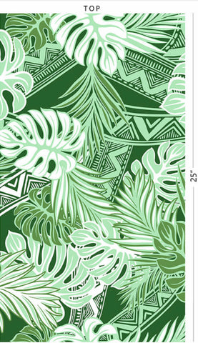 Green Lite Green Tribal with Leaves Poly Cotton Fabric