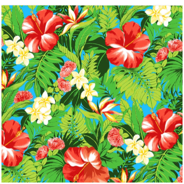 Red Hibiscus Tropical Poly Cotton Fabric