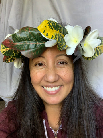 Artificial Croton Leaf Headpiece with Plumerias
