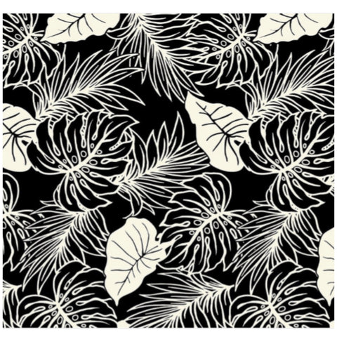 Black White Tropical Leaves Poly Cotton Fabric