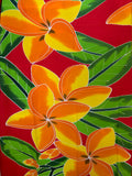 Hand Painted Orange/Yellow Plumeria Premium Rayon Pareu