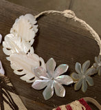 White Mother Of Pearl Leaves and Tiares Necklace