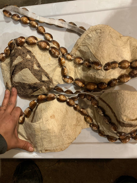 Tapa Bra with Snakehead Cowry Shells on neckstrap