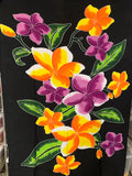 Hand Painted Orange & Purple Plumeria Premium Rayon Pareu